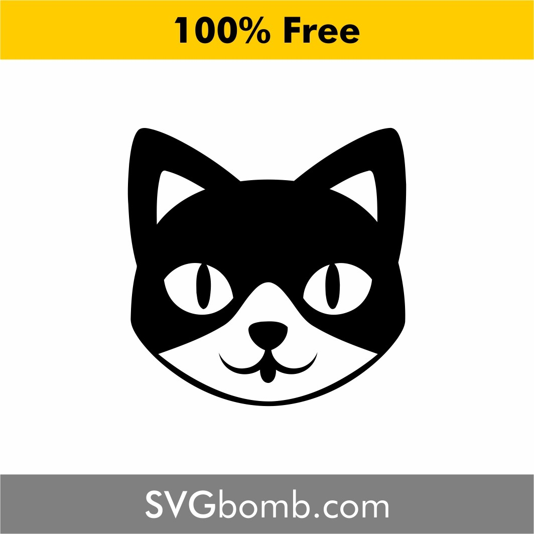 free svg cut file cat face