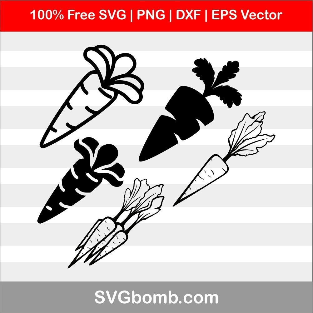 Carrots SVG cut files, PNG, DXF and EPS Vector