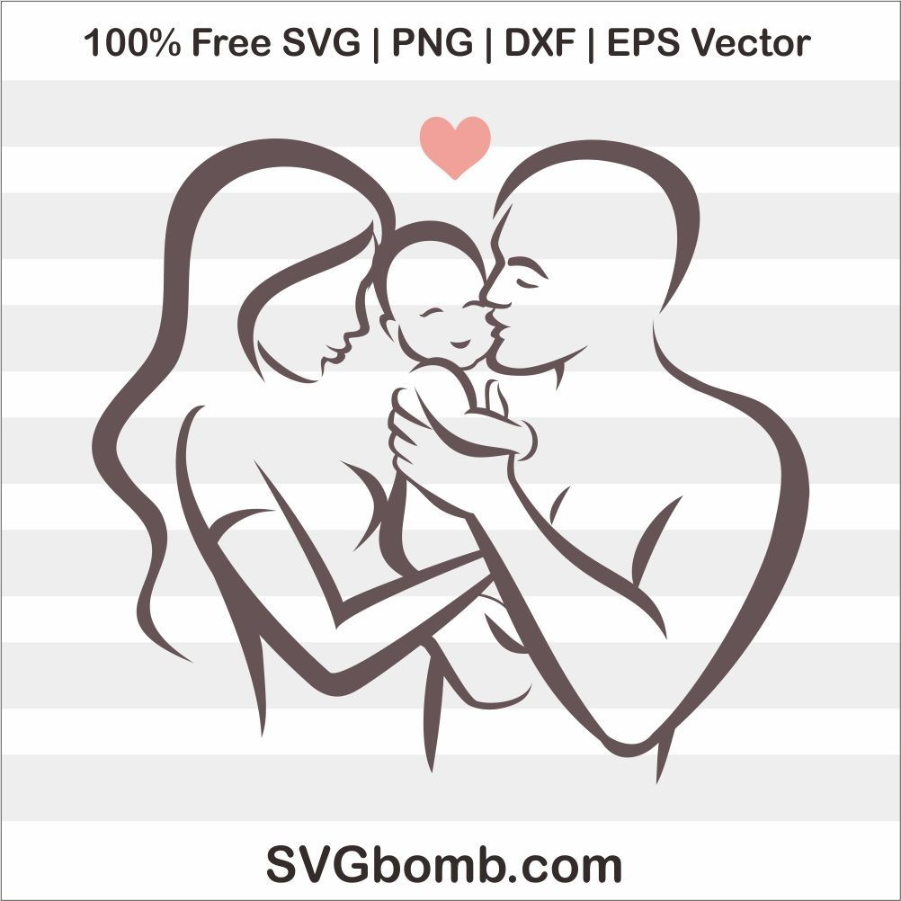 Free Family Love Baby SVG cut files, PNG, DXF and EPS Vector