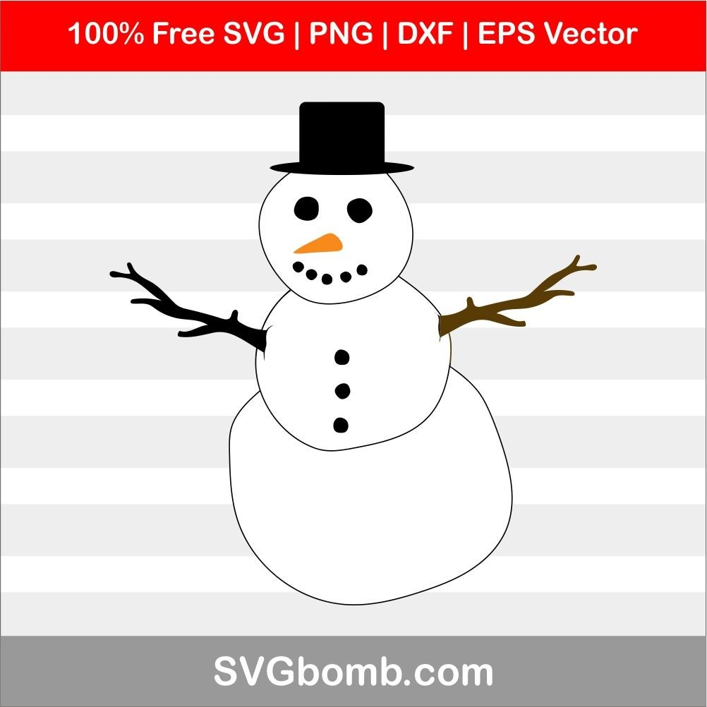 Snowman SVG Vector Image for Cricut | SVGbomb com