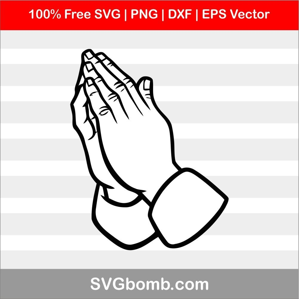 Praying Hand SVG cut files, PNG, DXF and EPS Vector