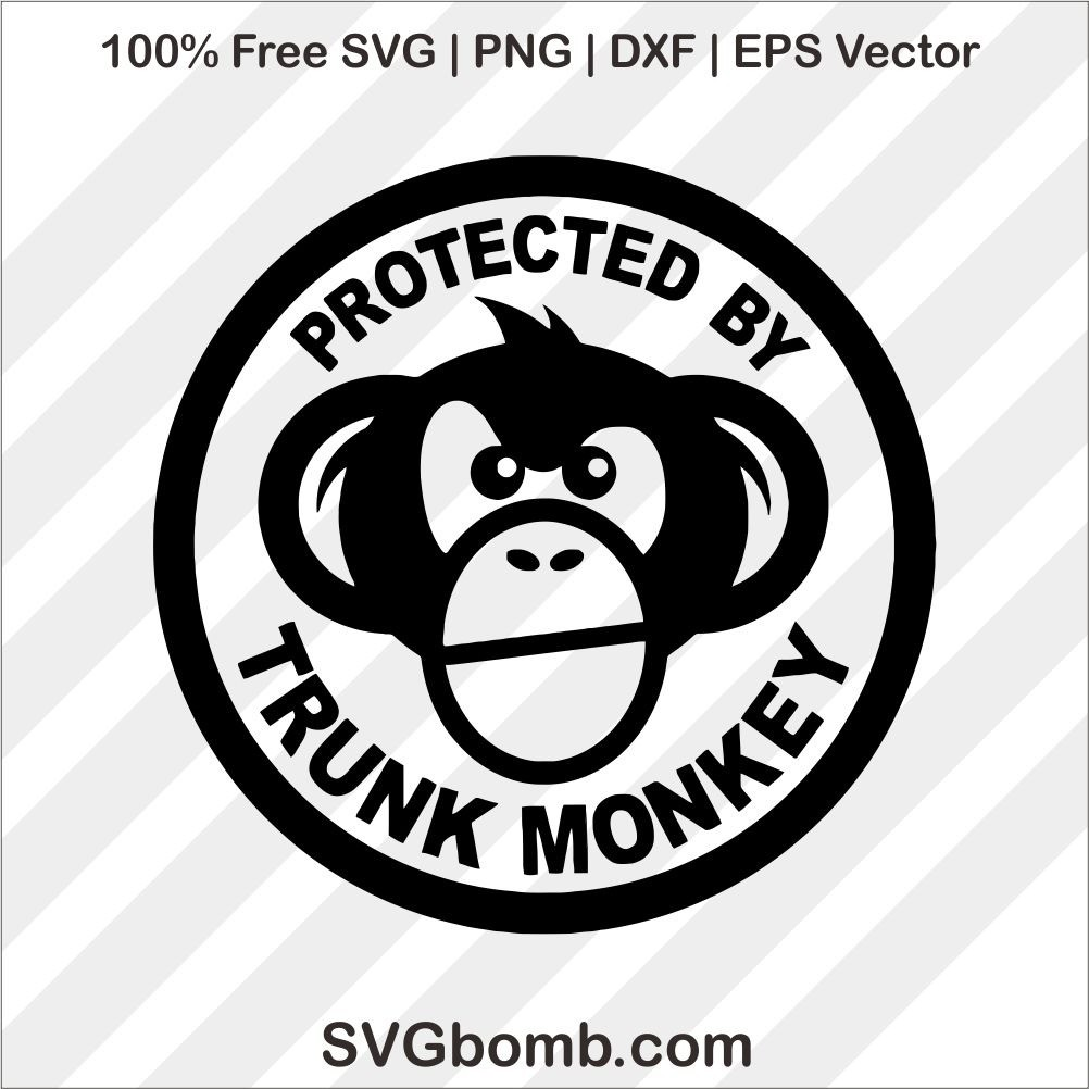 free protected by trunk monkey svg cut file Subaru