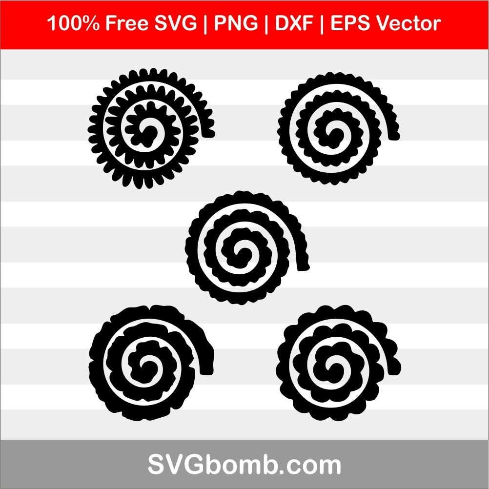 Rolled Flowers Svg Dxf Vector Image Svgbomb Com