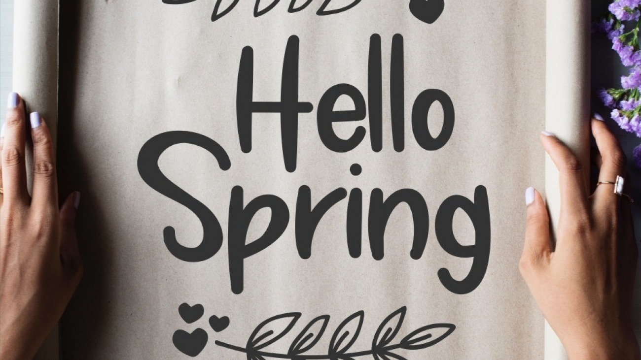 hello spring sign svg cut file png