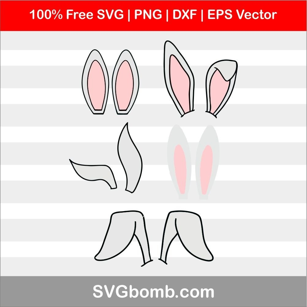 bunny ears svg cut file cricut cameo