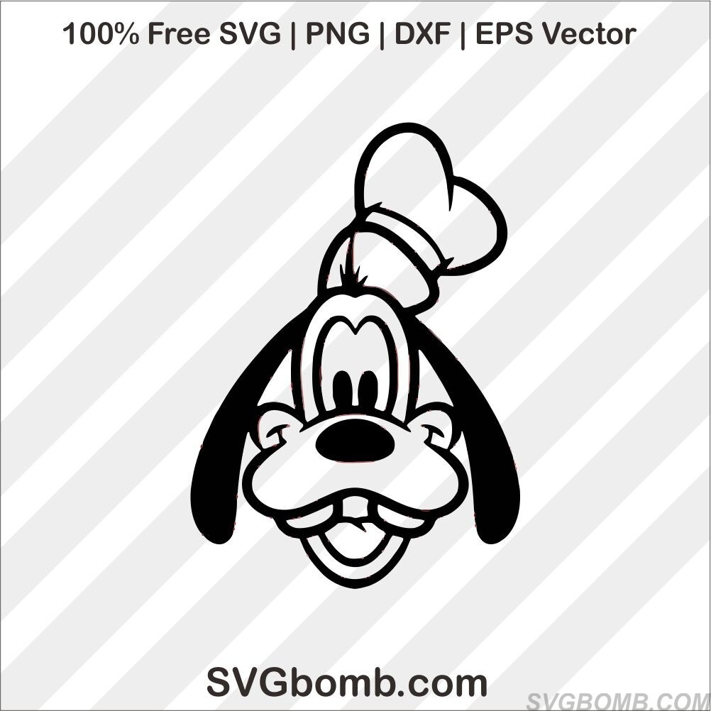 free goofy dog face svg cut file