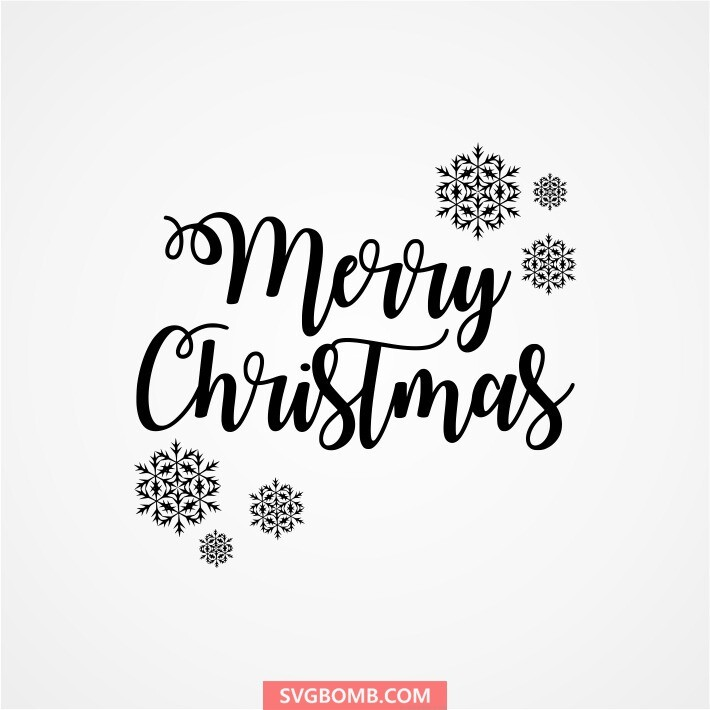 Merry Christmas With Snowflake Cut File Svgbomb Com