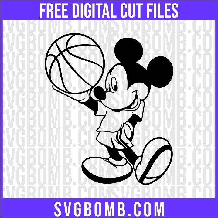 mickey mouse with a basketball svg